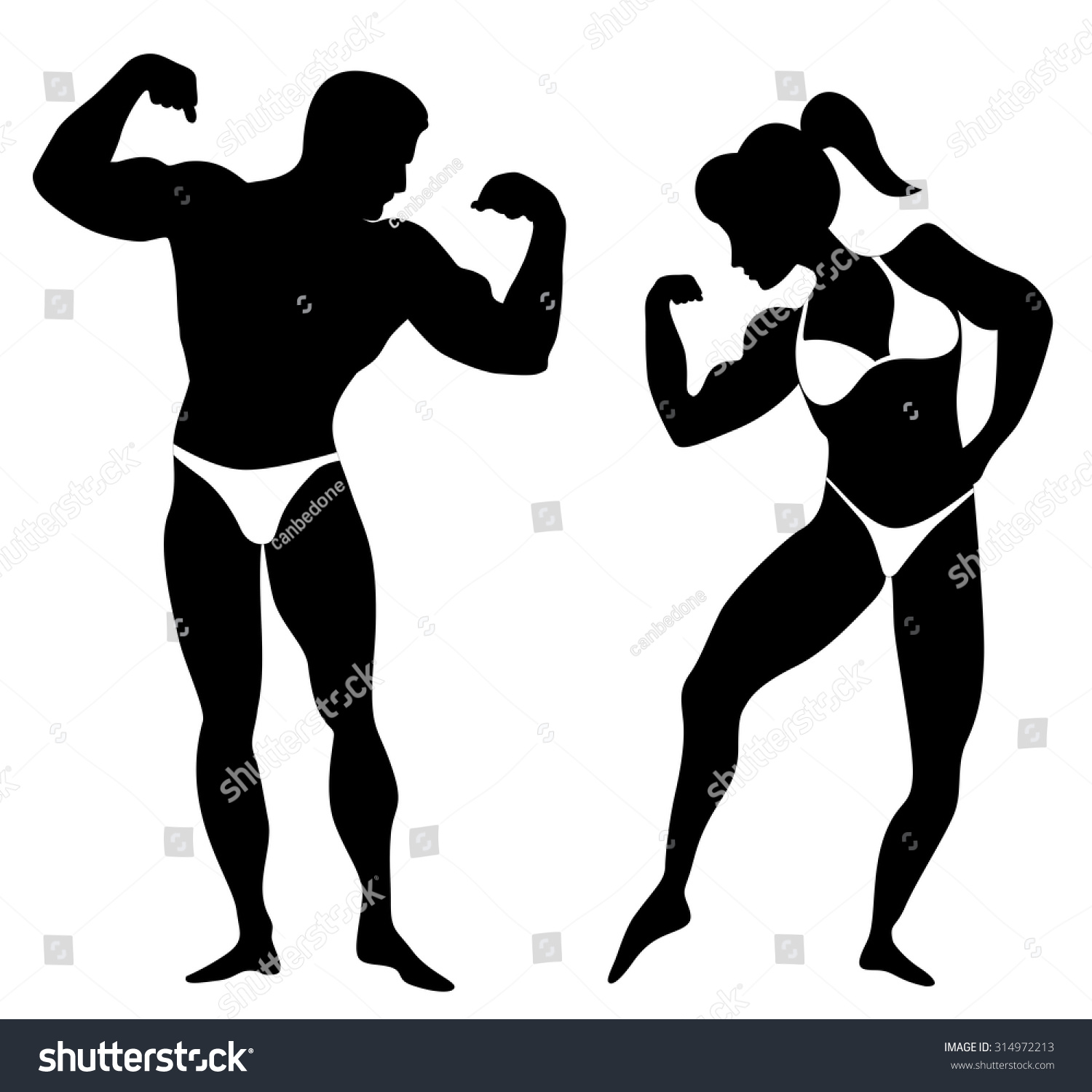 Silhouette Man Woman Body Builders Showing Stock Vector