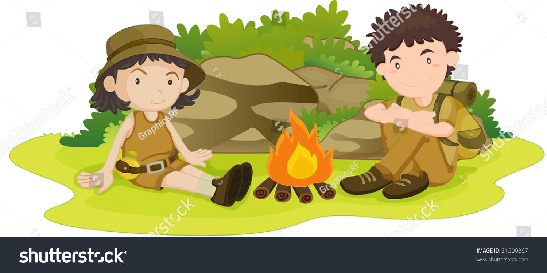 Illustration Boy Girl Wearing Scout Uniform Stock -4677