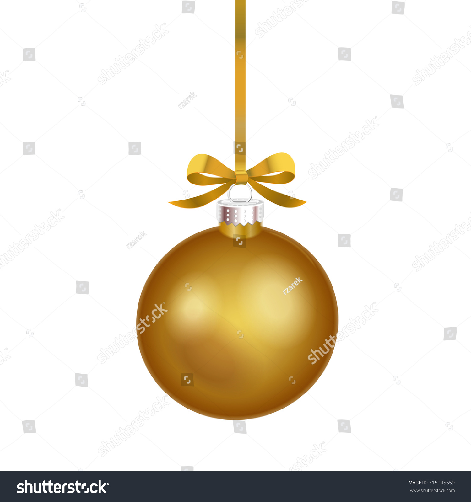 Christmas Ornament With Gold Ribbon Vector Illustration