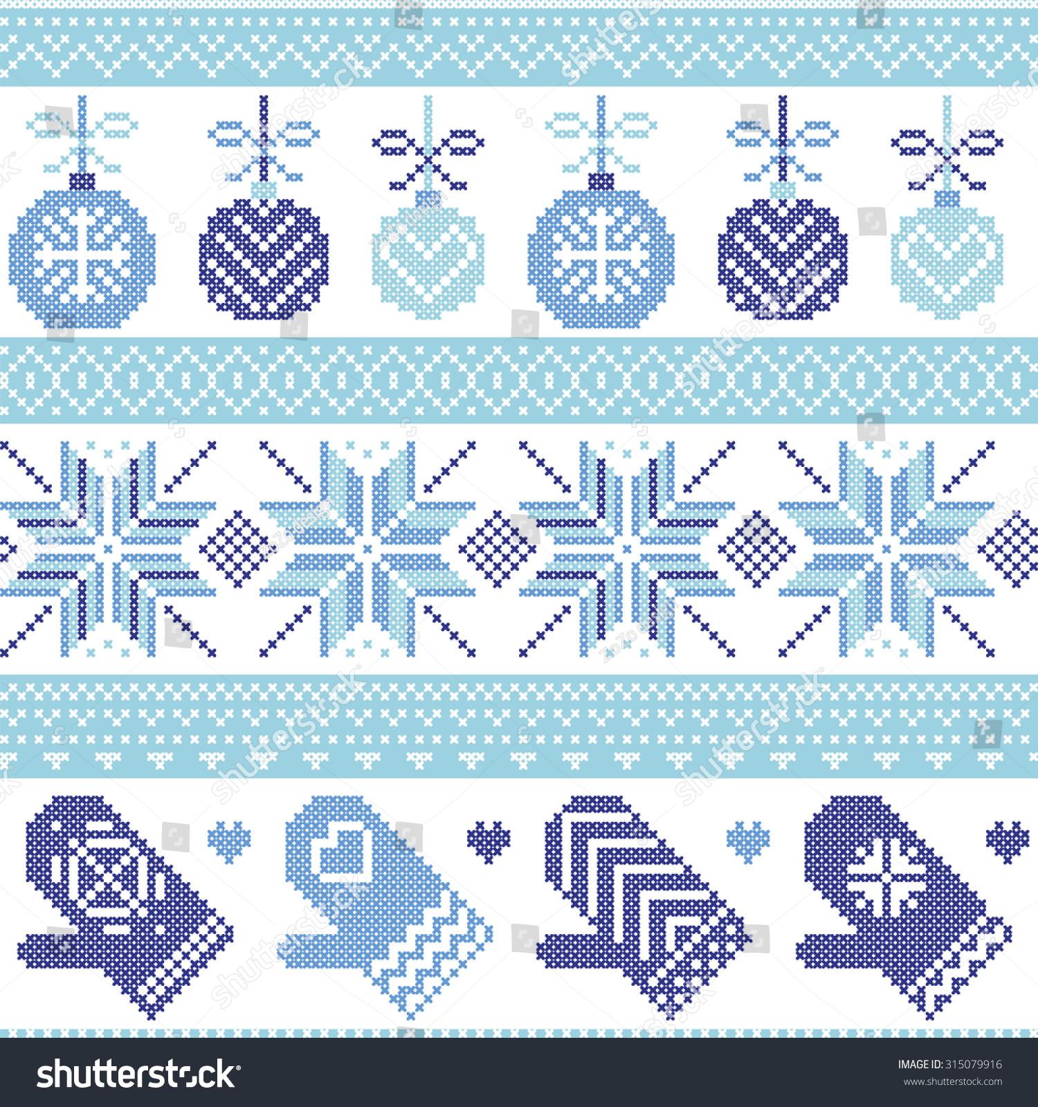 Scandinavian Nordic Seamless Christmas Pattern Xmas Stock Vector HD ...
