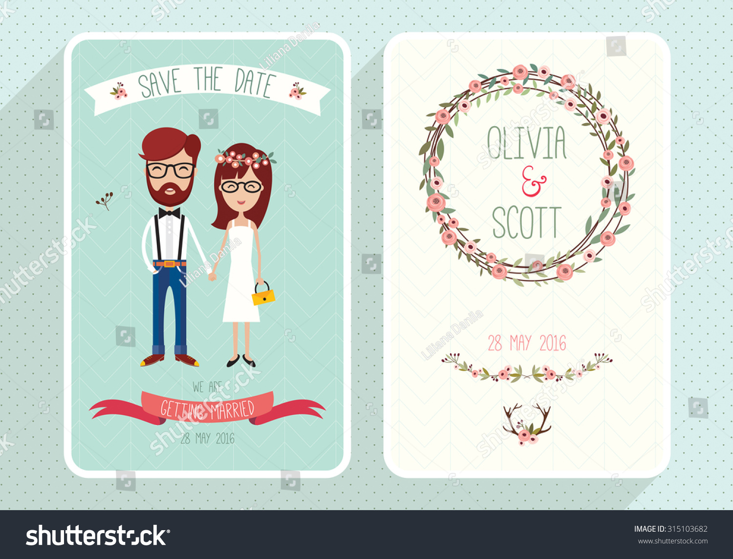 Wedding Invite Card Stock: Wedding Invitation Card Template Hipsters Collection Two