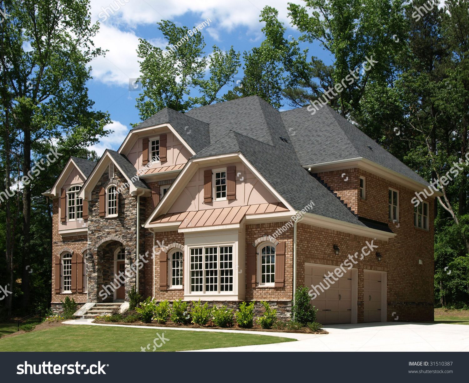 model luxury home exterior side view with tree background - Luxury Homes Exterior Brick