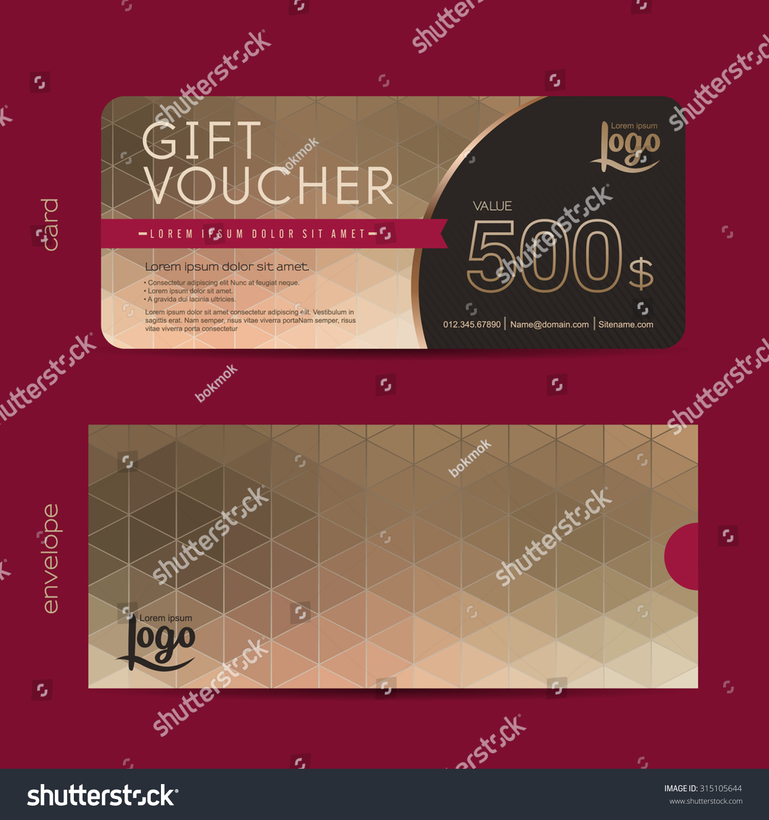 Gift Voucher Template Premium Patterngift Voucher Stock Vector