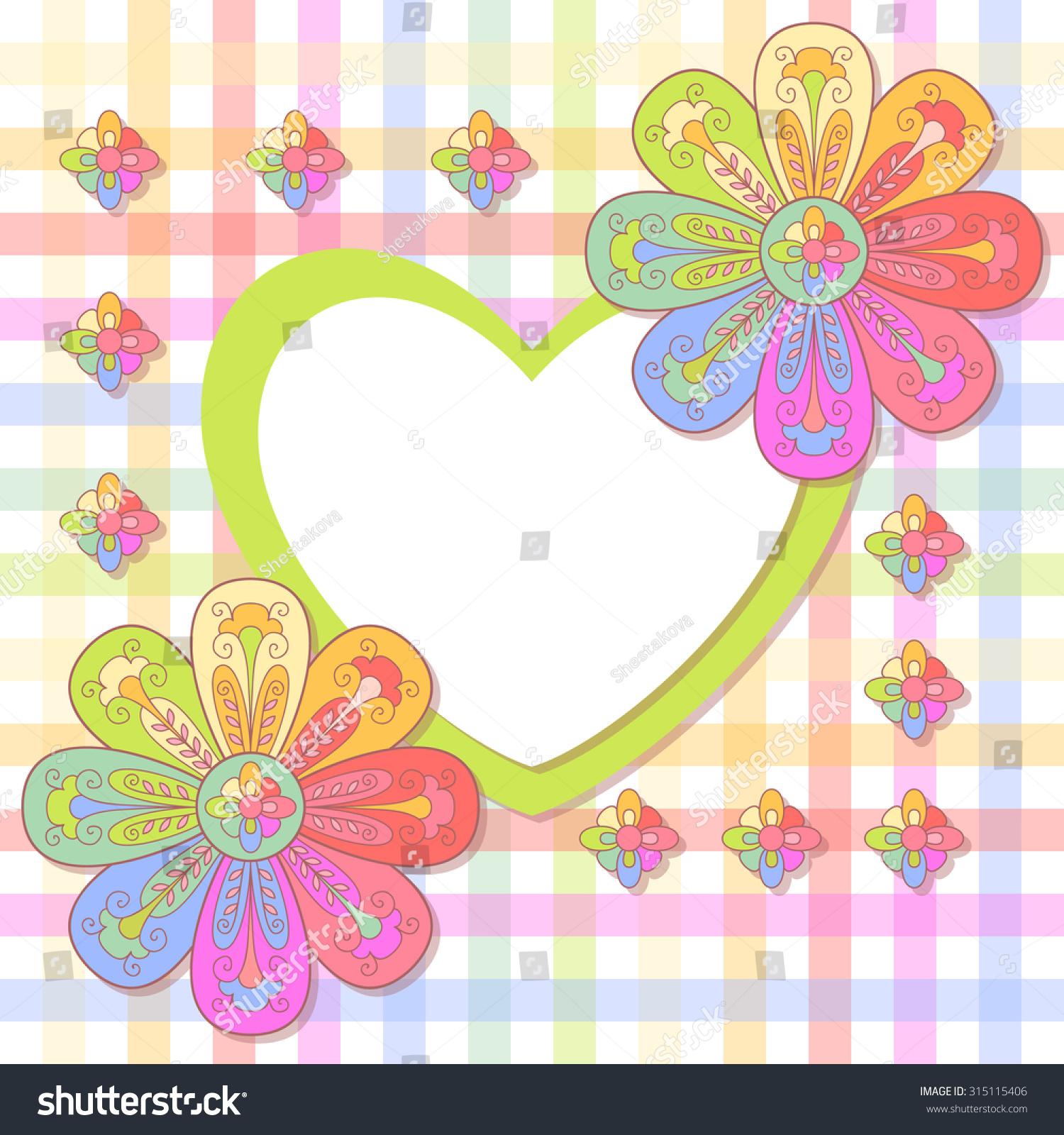 Cute Flower Heart Frame Baby Stock Vector