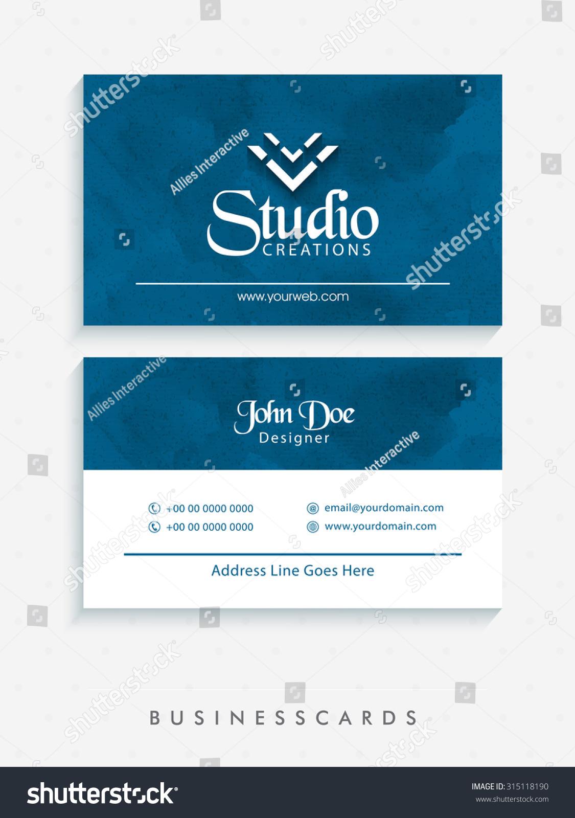 Stylish Horizontal Business Card Name Card Stock Vector 315118190 ...