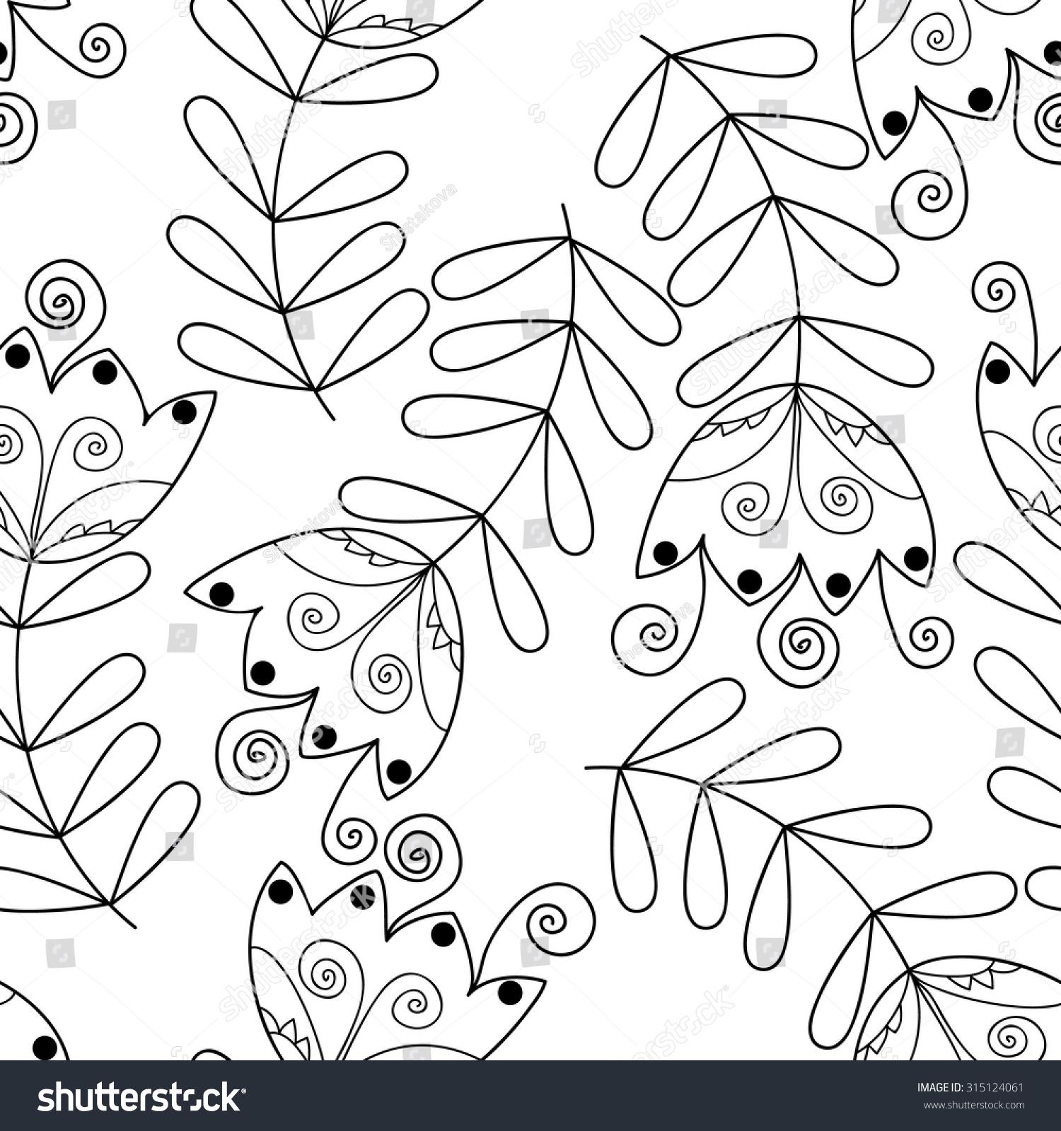 Vector Monochrome Flower Seamless Pattern Cute Stock Vector