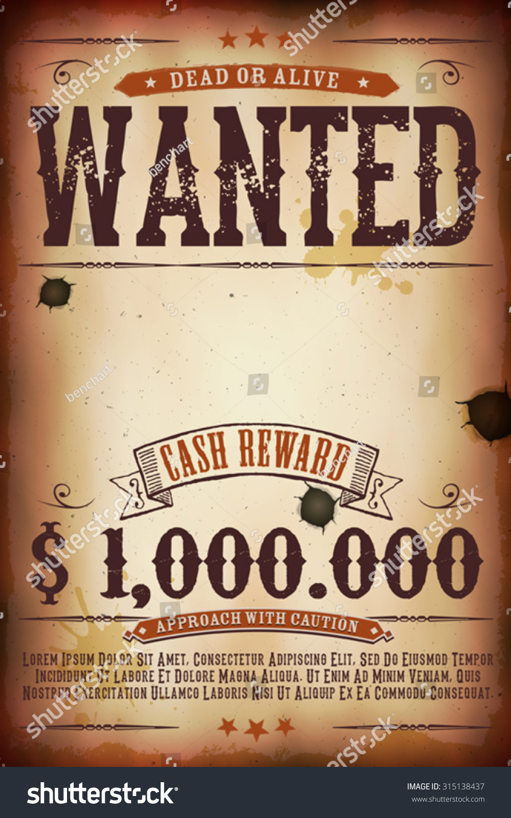 Wanted Vintage Western Poster Illustration Vintage Stock Vector