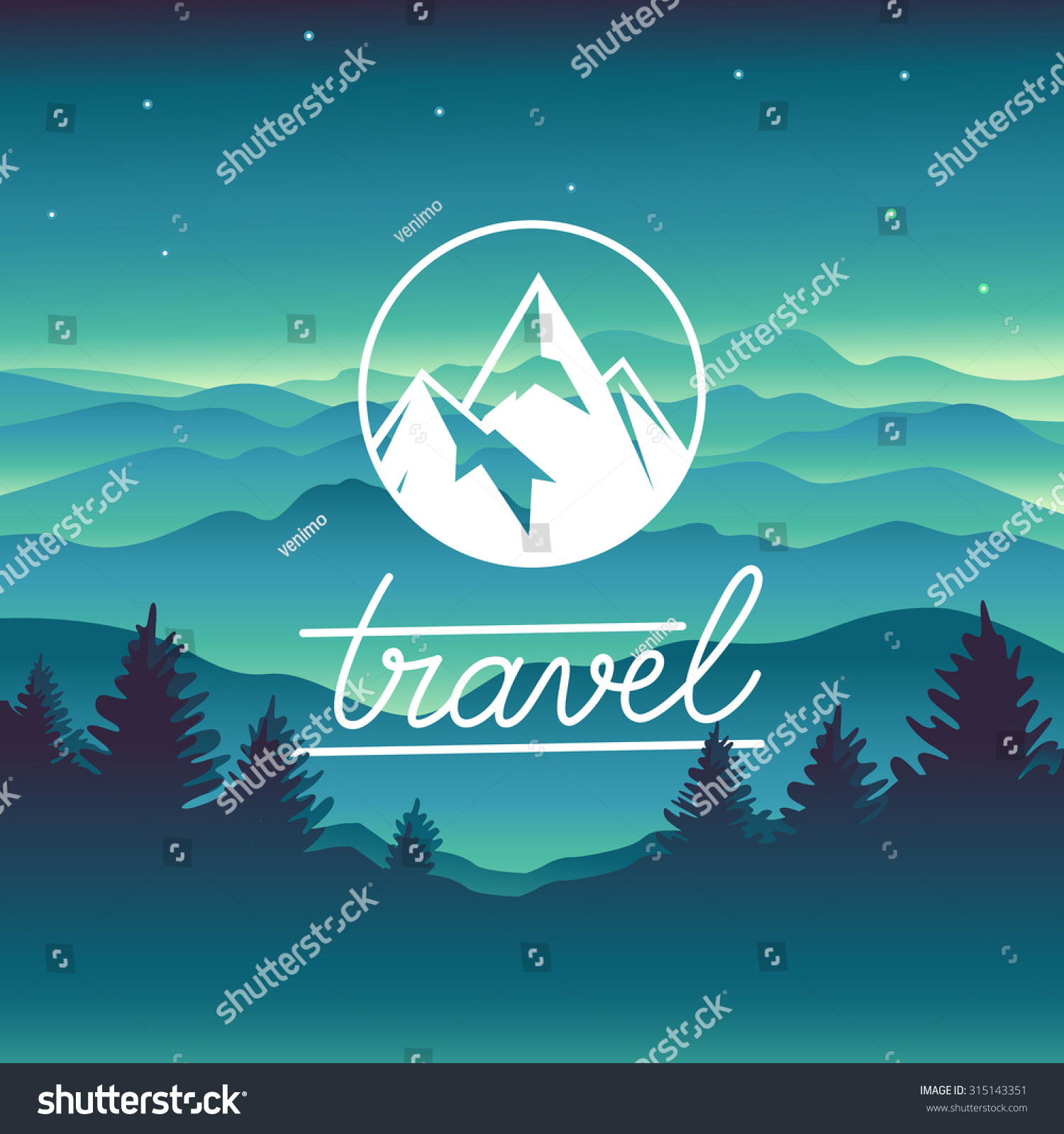 Vector travel concept and logo design element mountain landscape in simple style and circle badge with summit