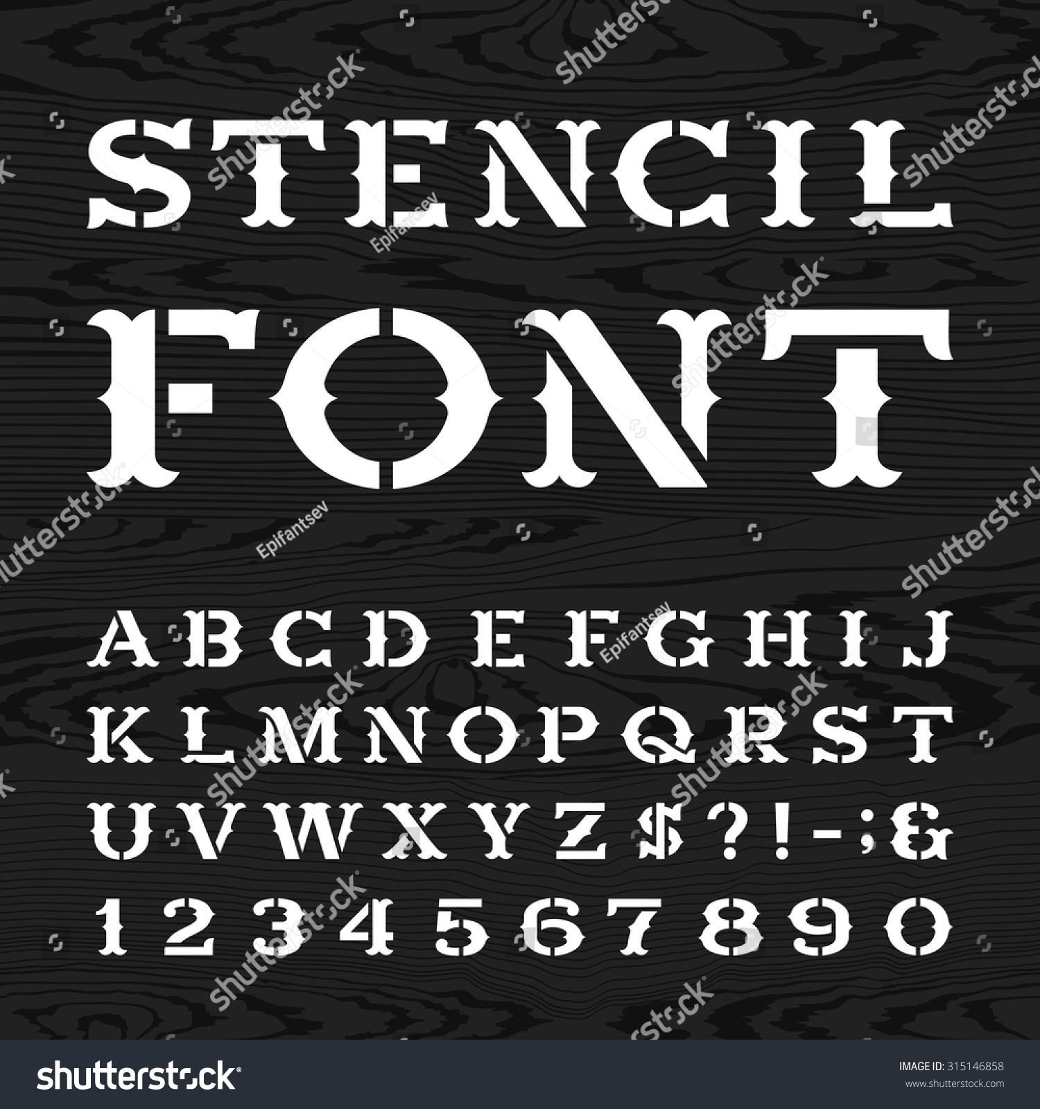 Western Style Retro Alphabet Stencil Font Stock Vector