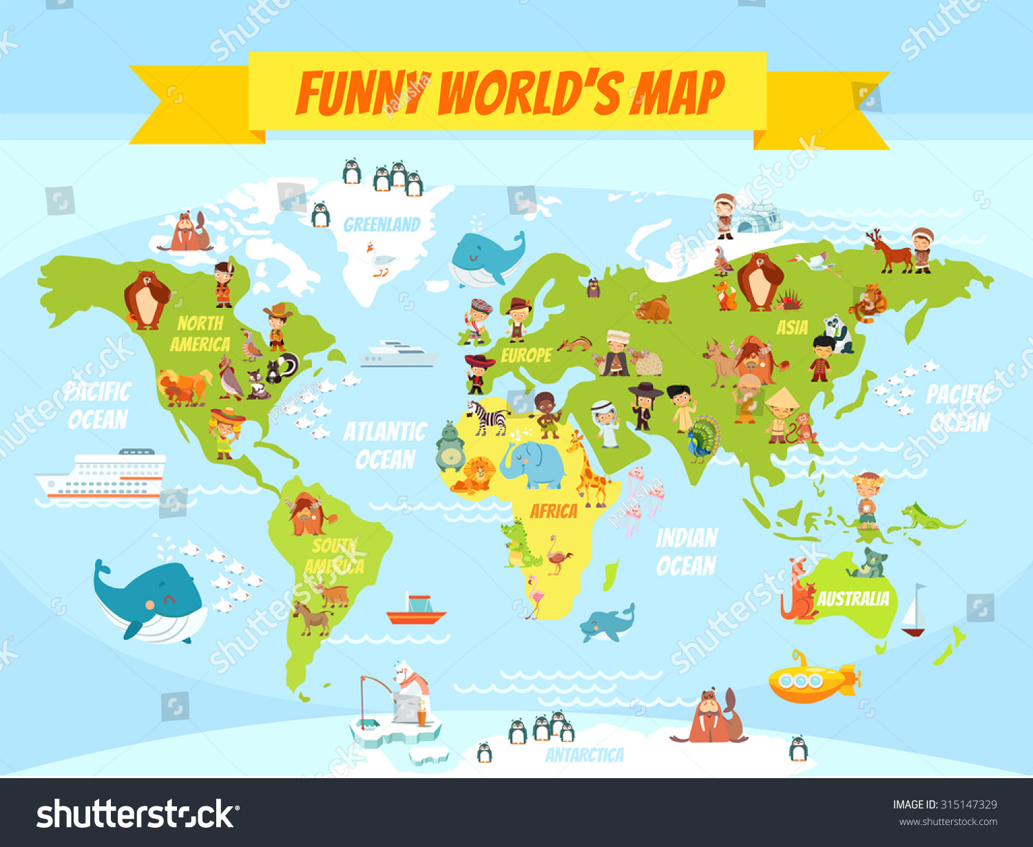 Royalty-free Funny cartoon world map with people of… #315147329 ...