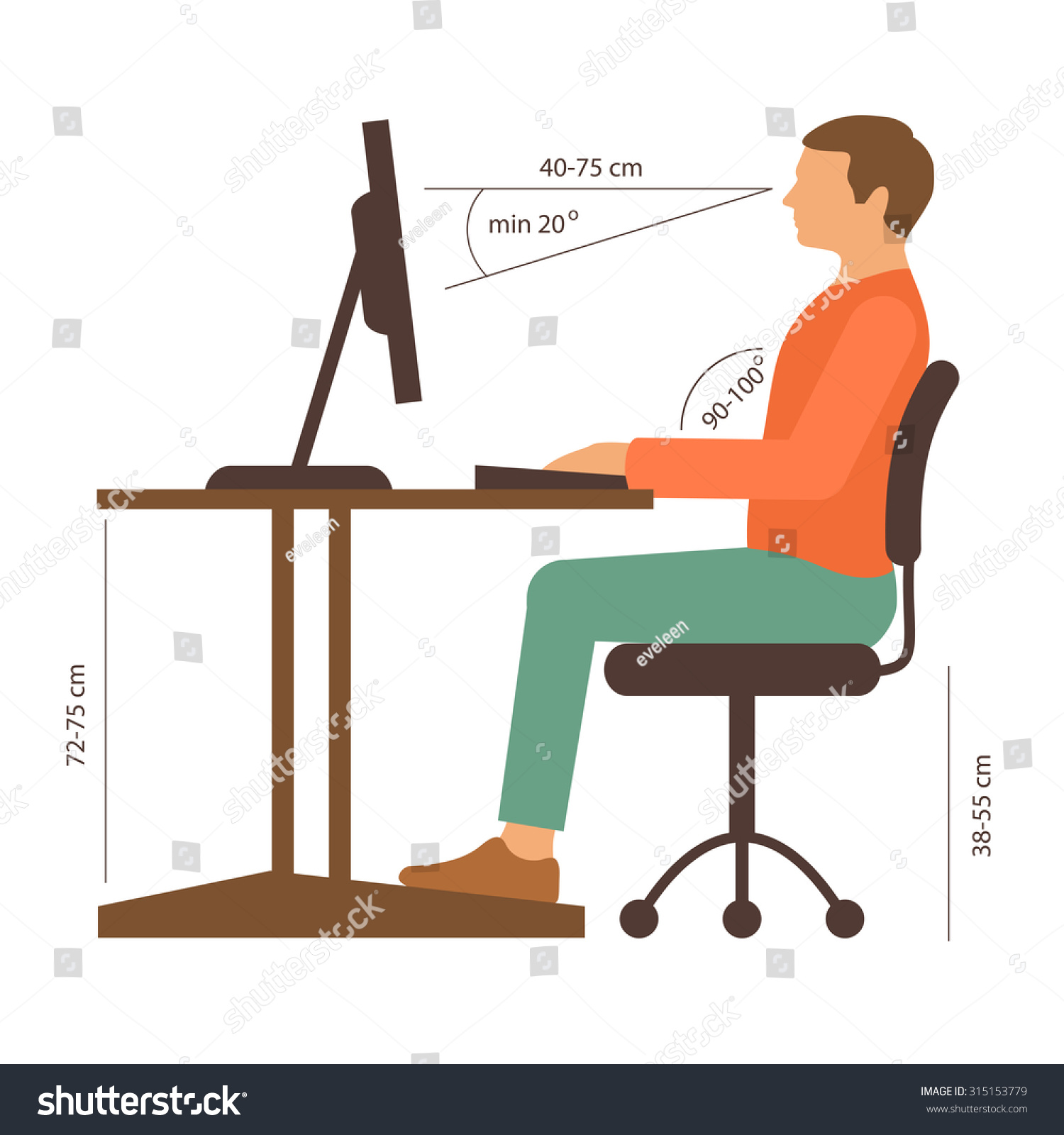 Correct Back Sitting Position, Vector Illustration ...