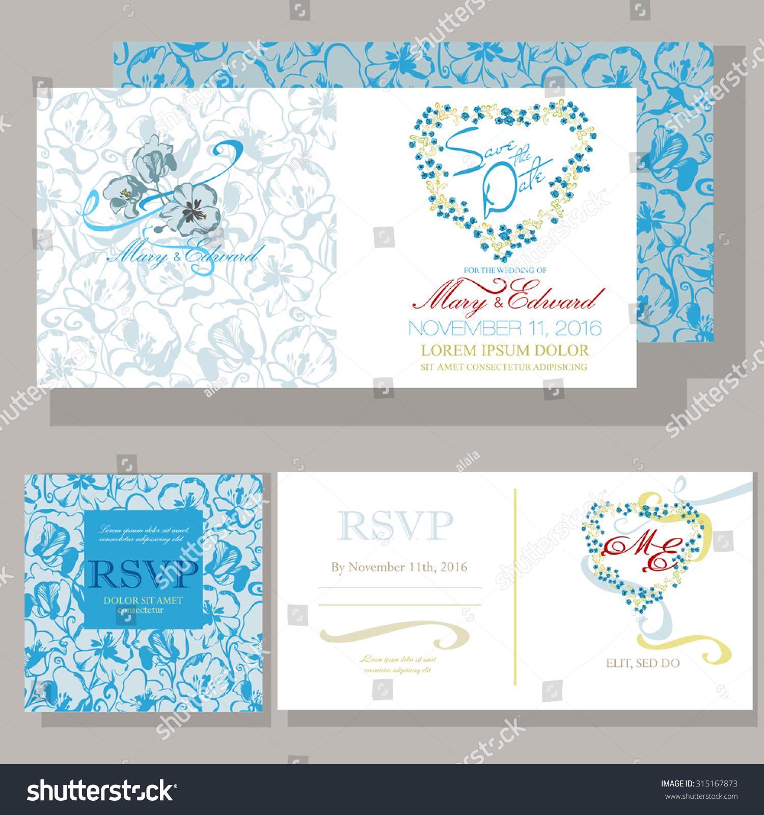 Wedding Invitation Ornamented Blue Flowers Design Stock Vector ...