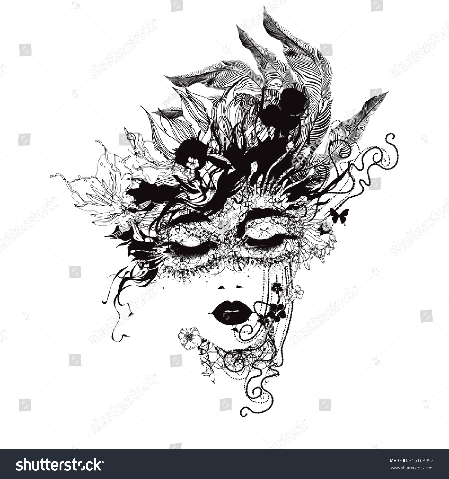 Abstract girl face flowers black white stock vector royalty