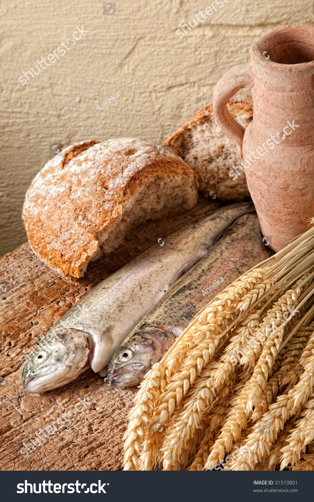 Symbols christian belief wine bread fish stock photo for How to bread fish