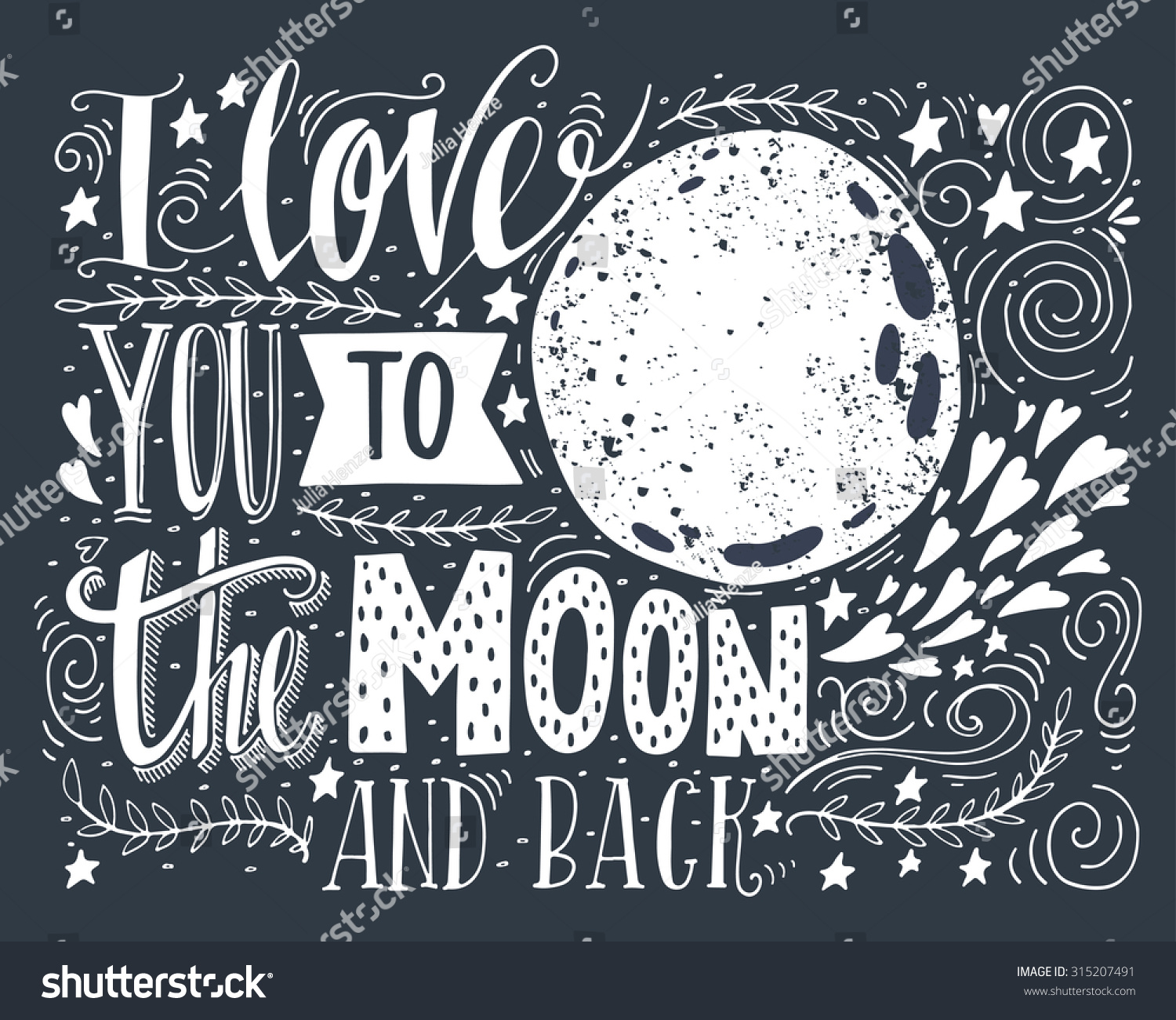 i love you to the moon and back hand drawn poster with a. Black Bedroom Furniture Sets. Home Design Ideas