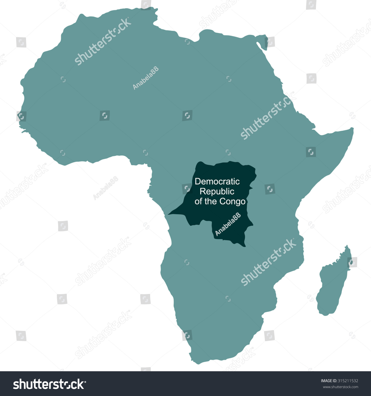 Congo On Africa Map.Map Africa Democratic Republic Congo Stock Vector Royalty Free