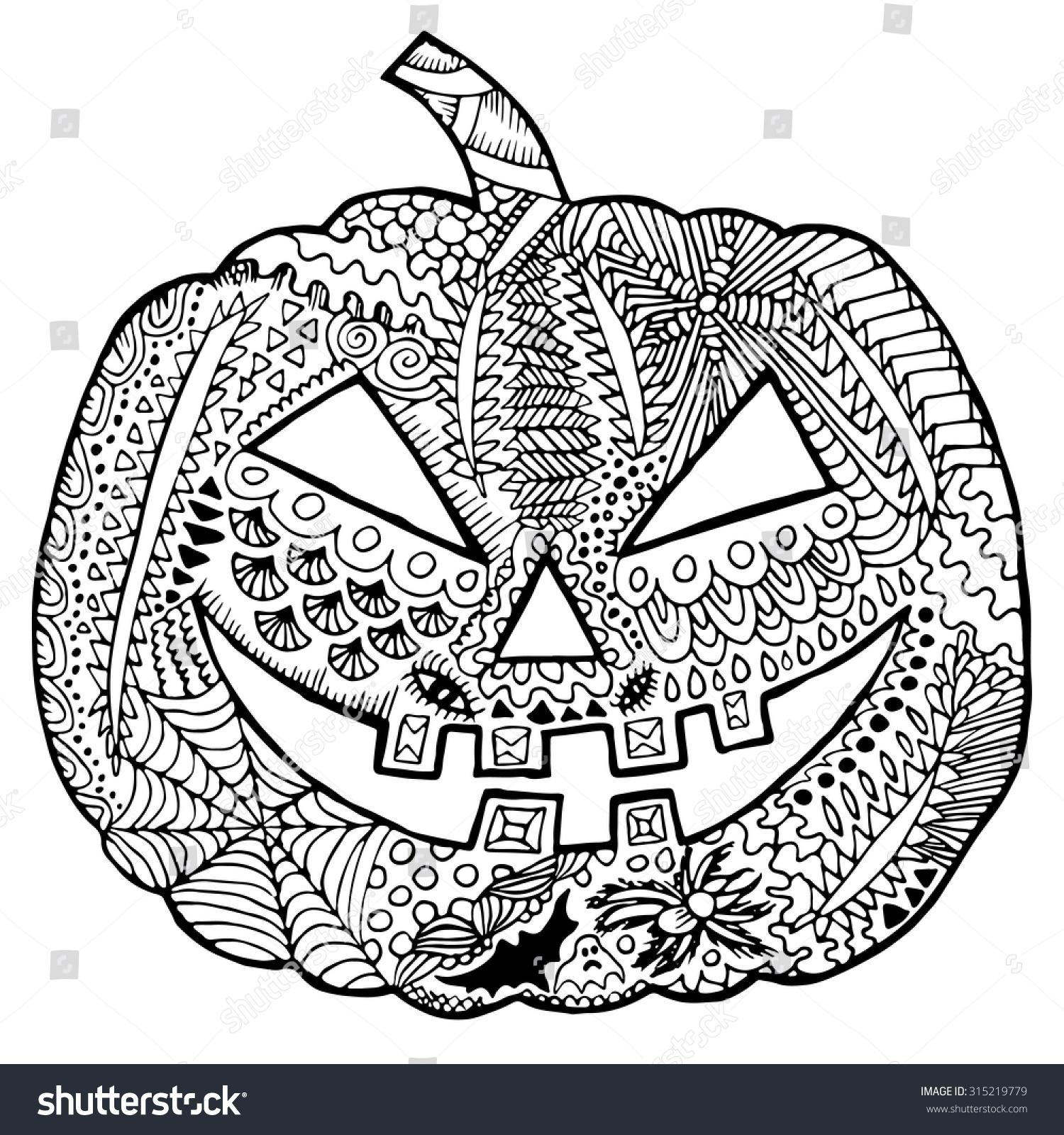 Zentangle Pumpkin Halloween Zentangle Illustration Autumn Stock Vector Royalty Free 315219779