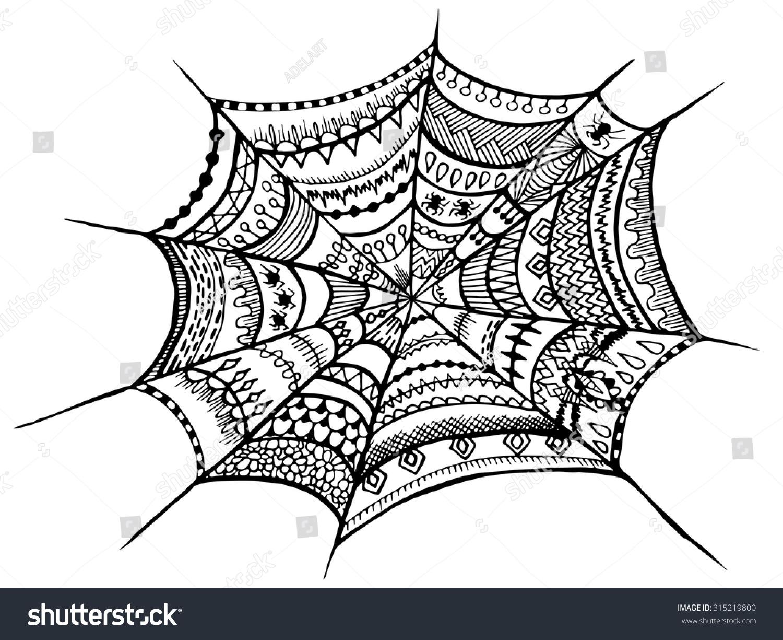 Zentangle Spider Web Halloween Zentangle Illustration