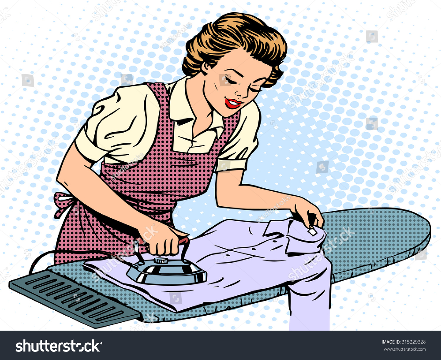 Woman stroking home clothes iron housewife stock vector for Style house styling iron