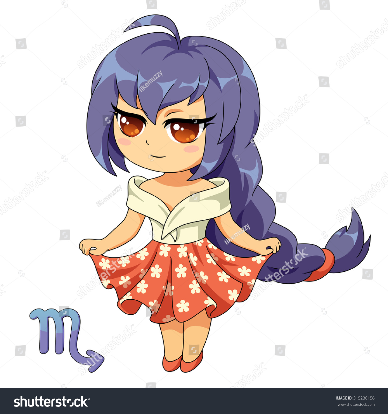 Scorpio Chibi Girl Zodiac Sign Vector Stock Vector