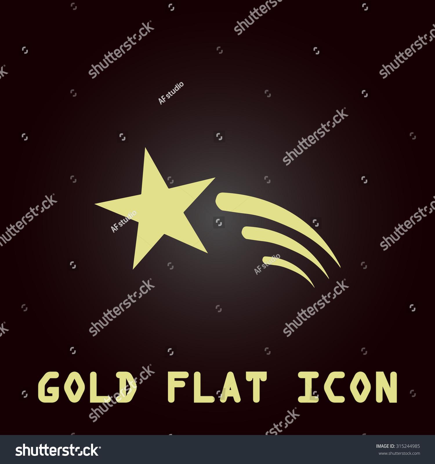 Shooting Star Gold Flat Icon Symbol Stock Illustration 315244985