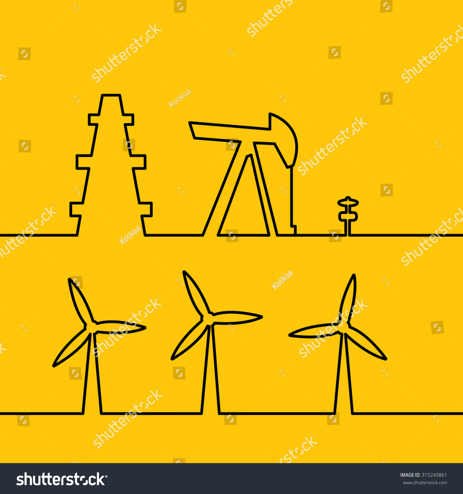 Oil Pump Jack Silhouette Design Wind Stock Vector