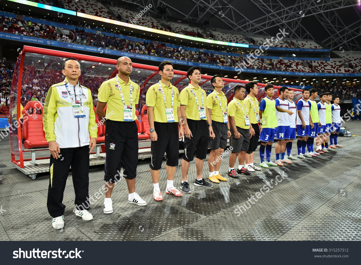 Kallang Singapore JUNE13 Thailand national football team staff in action  during 28th SEAGames Singapore2015 match d8fa6bffa