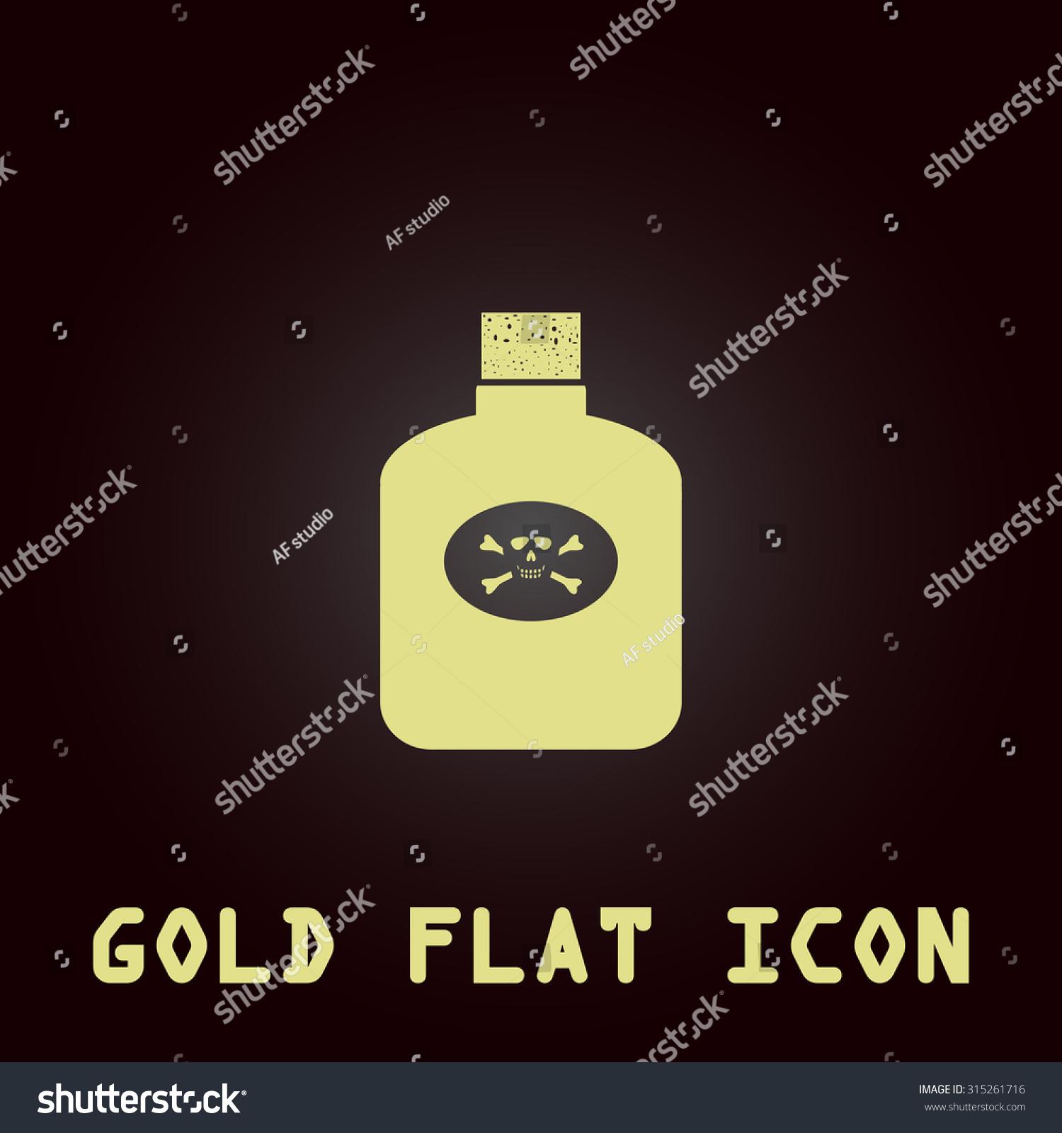 Bottle Poison Gold Flat Icon Symbol Stock Illustration 315261716