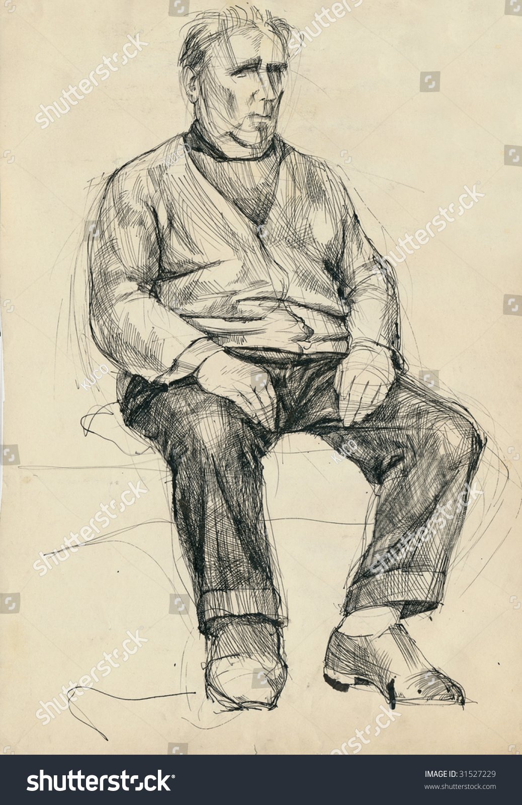 Man sitting in chair drawing - Hand Drawing Picture Man On The Chair Pen And Ink Technique