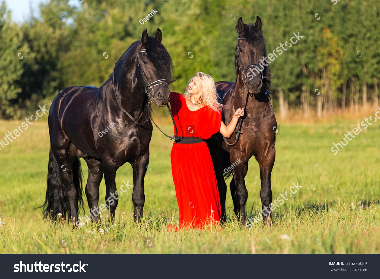 Pretty Lady Posing Two Black Horses Stock Photo Edit Now 315276689