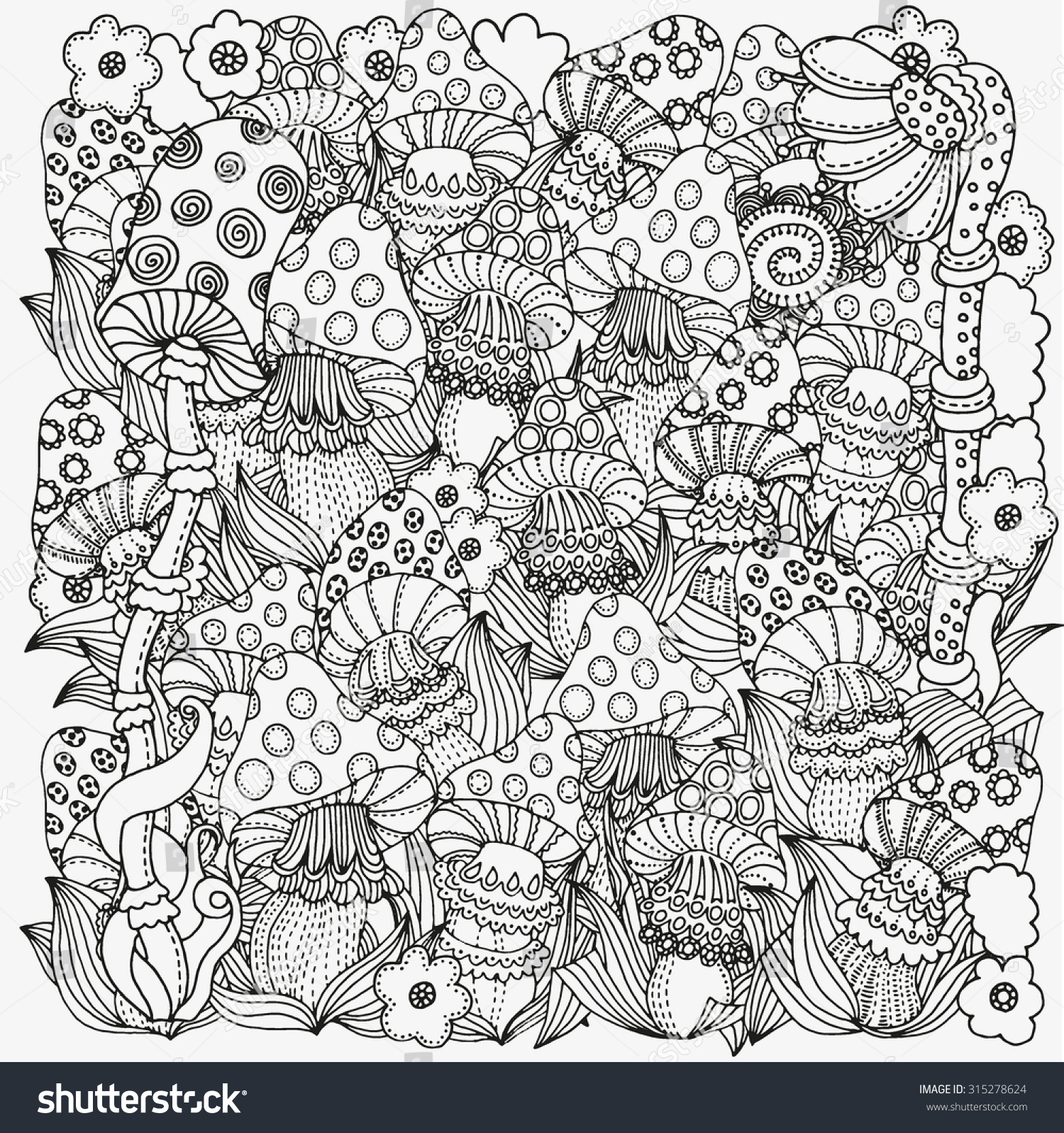 Pattern for coloring book in vector Fantasy fairy mushrooms in the magic forest Mushrooms flowers Black and white pattern Made by trace from sketch Zentangle