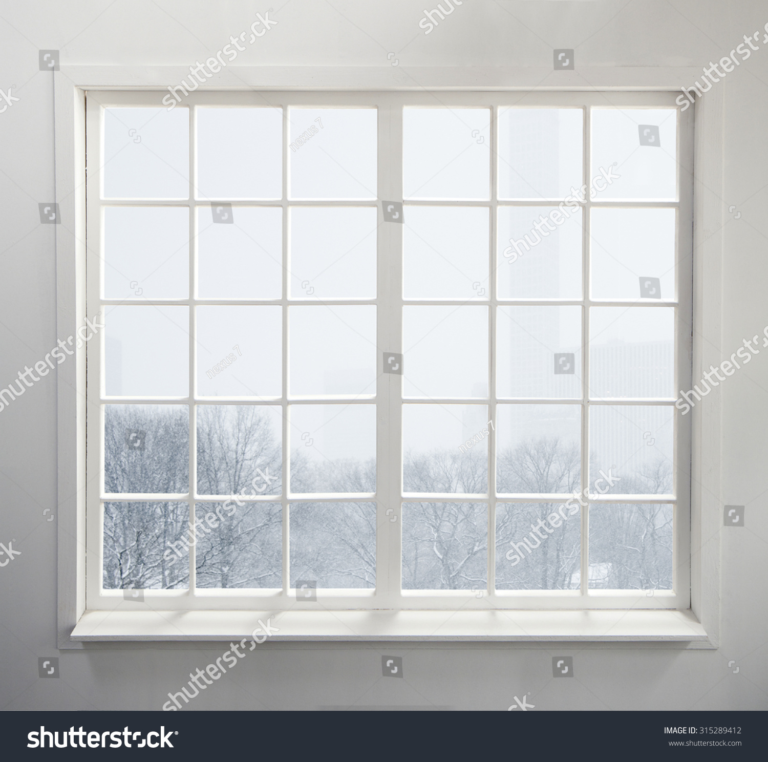 Modern residential window snow trees stock photo 315289412 for Residential window design