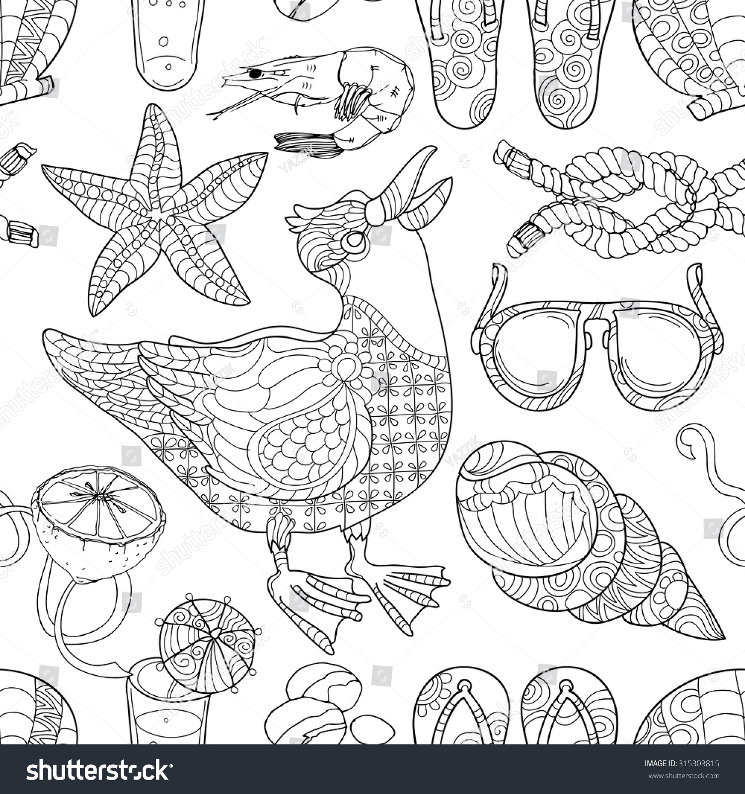 cute little seagull black white totem stock vector 315303815