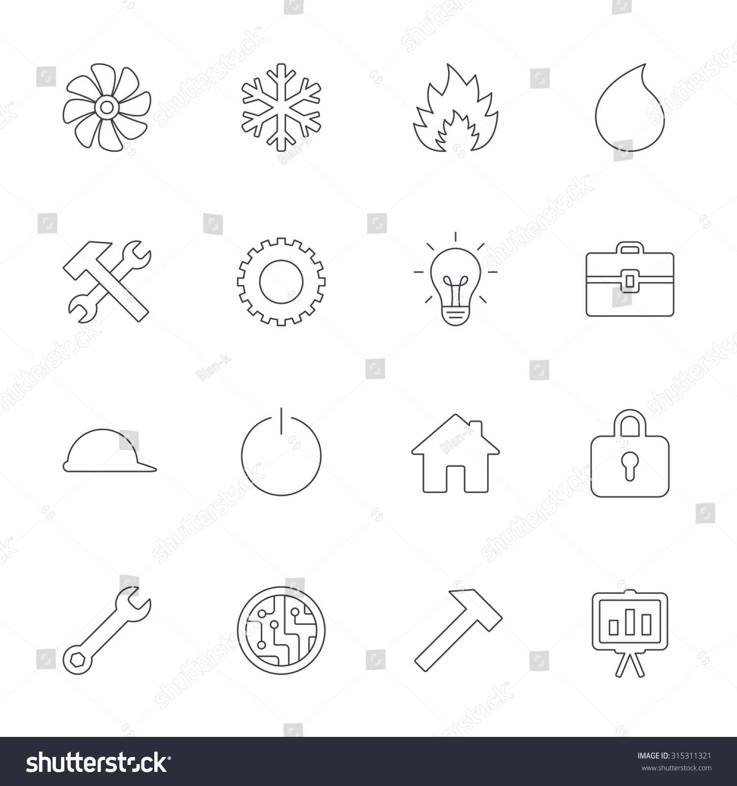 Engineering Icons Ventilation Heat Air Conditioning Stock Vector