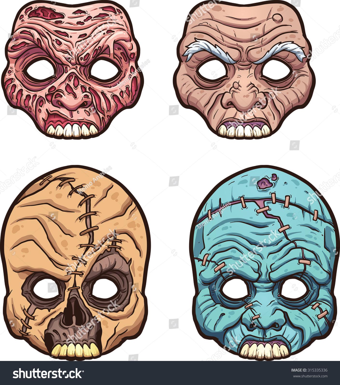 Halloween Masks. Vector Clip Art Illustration With Simple ...