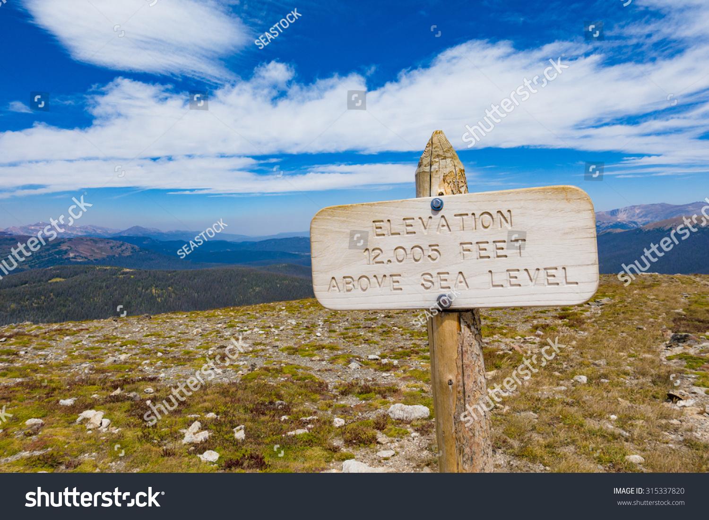 Sign Elevation Feet Above Sea Stock Photo - Elevation in feet above sea level