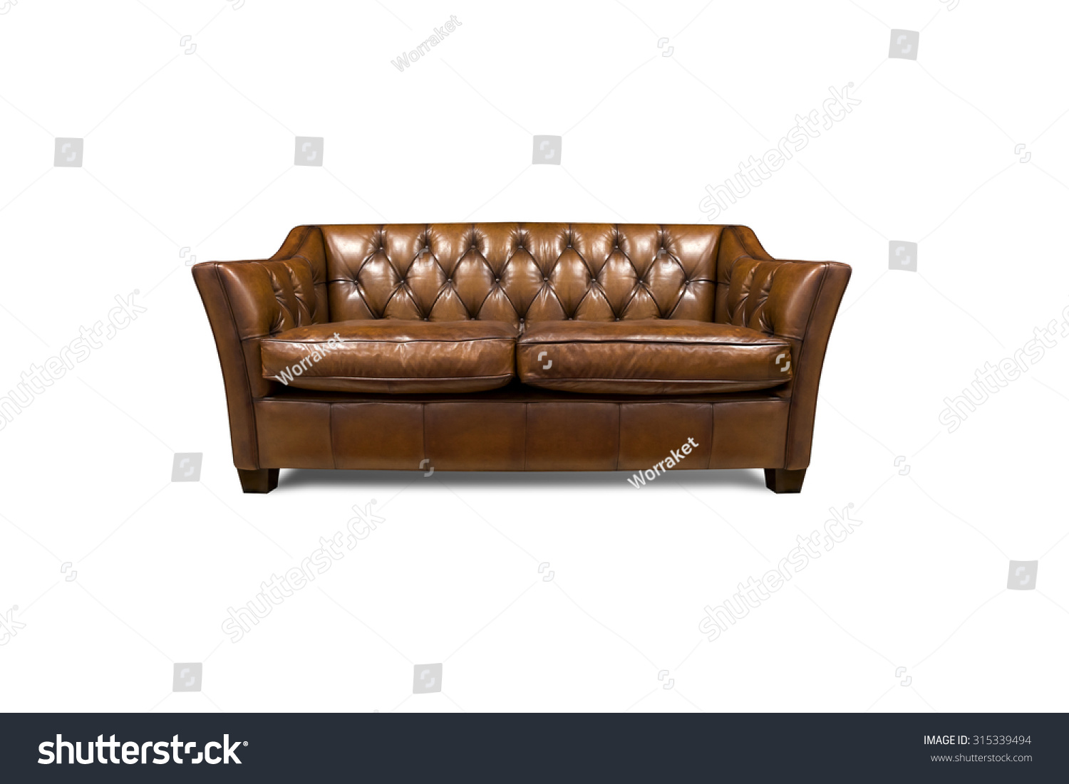 Sofa Leather Furniture Vintage Style Isolated Stock Photo  ~ Leather Sofa Vintage Style