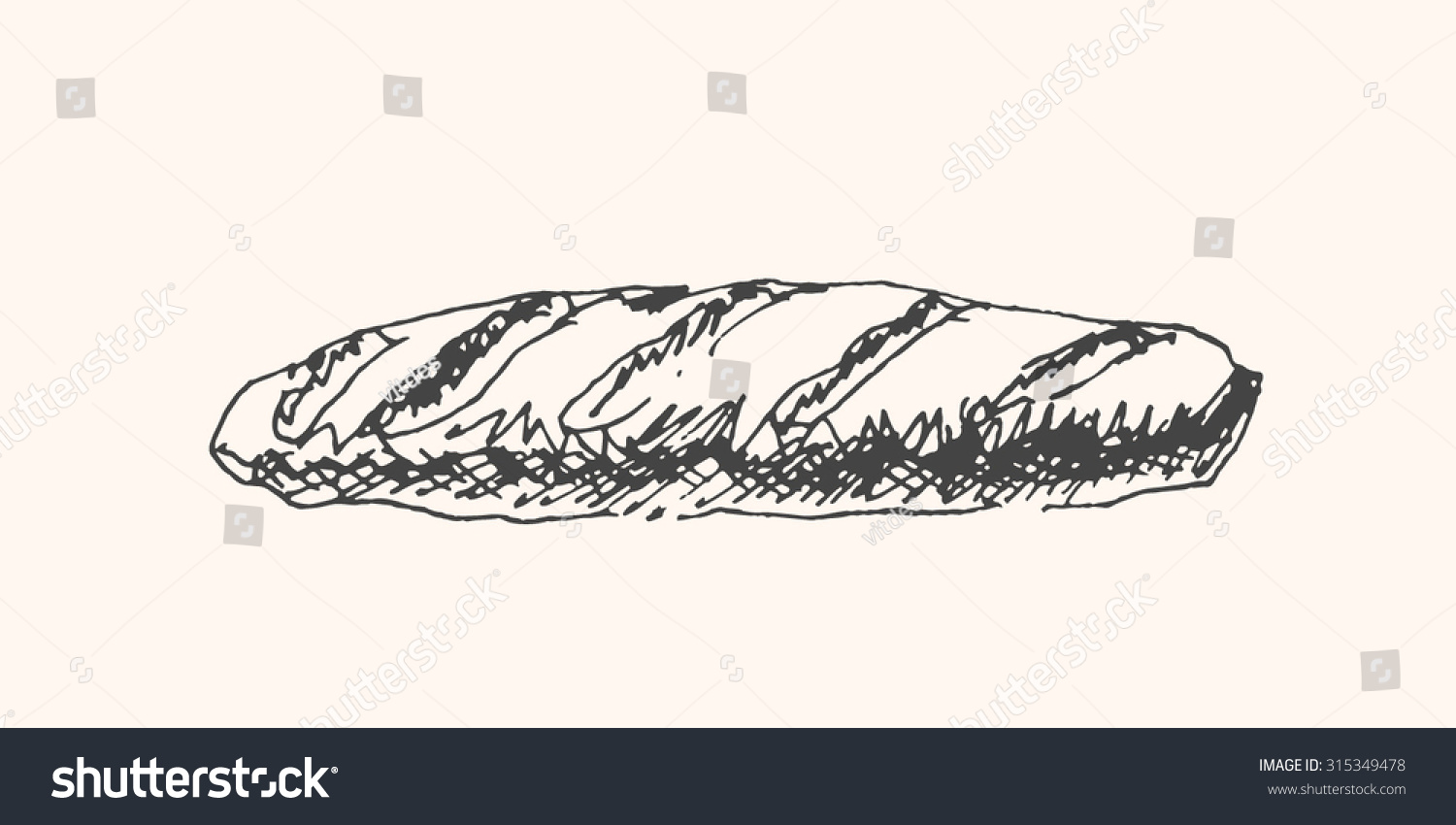 Tasty French Baguette Or Loaf Of Bread Icon In Sketch Hand Drawn Style For