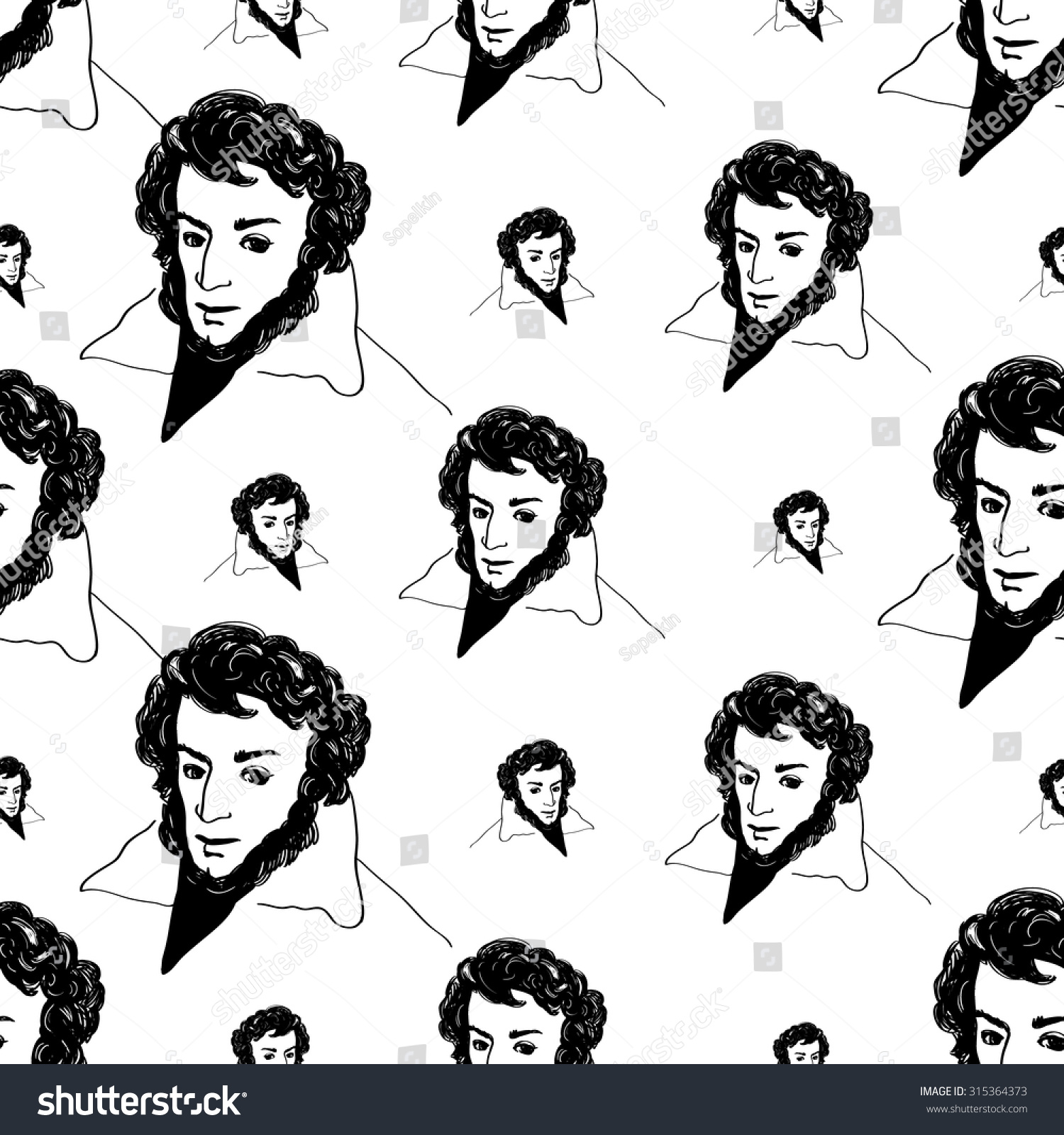 Background with hand drawing inky portraits of the great russian writers pushkin vector seamless