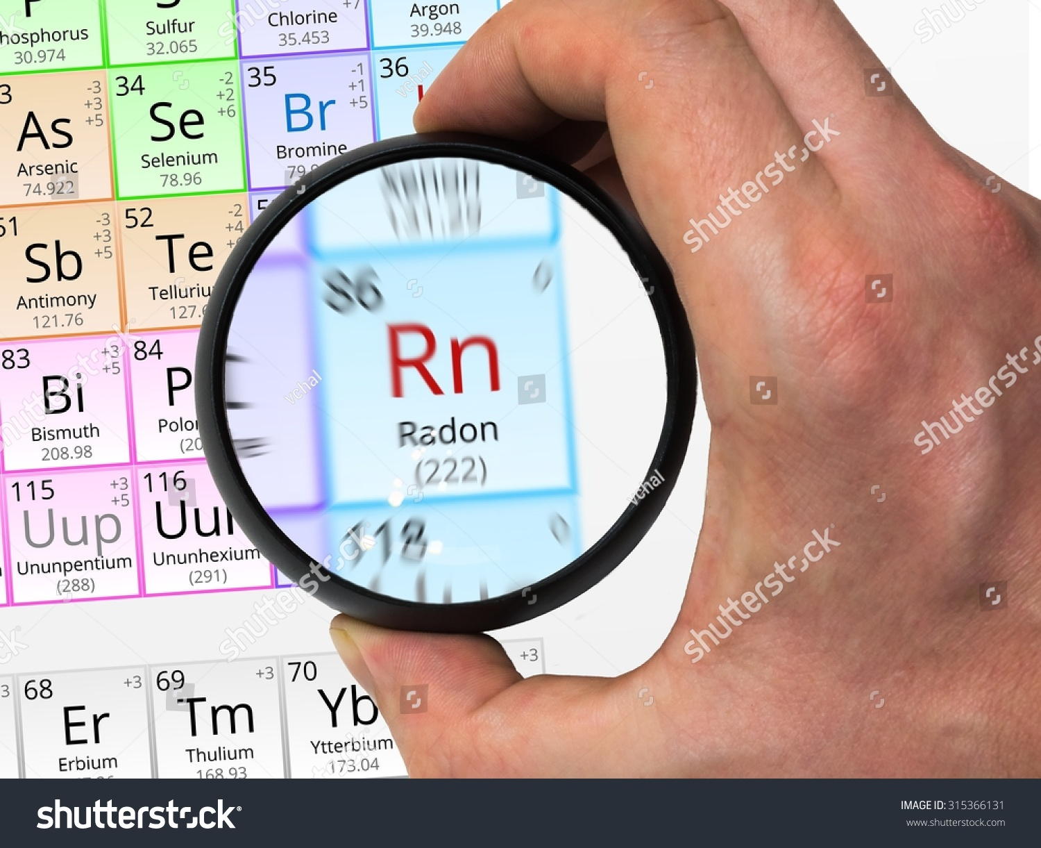 Radon symbol rn element periodic table stock photo 315366131 radon symbol rn element of the periodic table zoomed with magnifying glass gamestrikefo Image collections