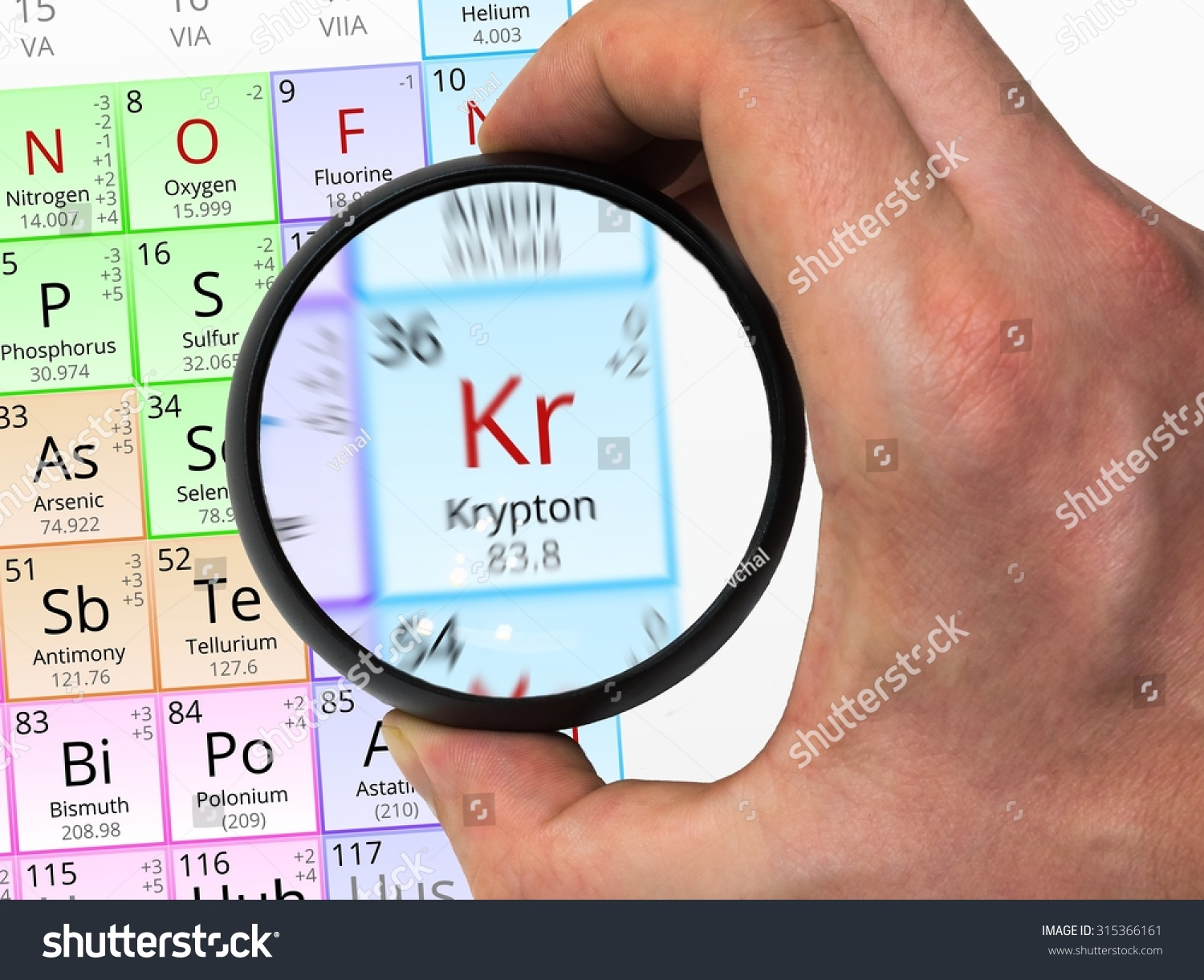 Krypton symbol kr element periodic table stock photo 315366161 krypton symbol kr element of the periodic table zoomed with magnifying glass gamestrikefo Image collections