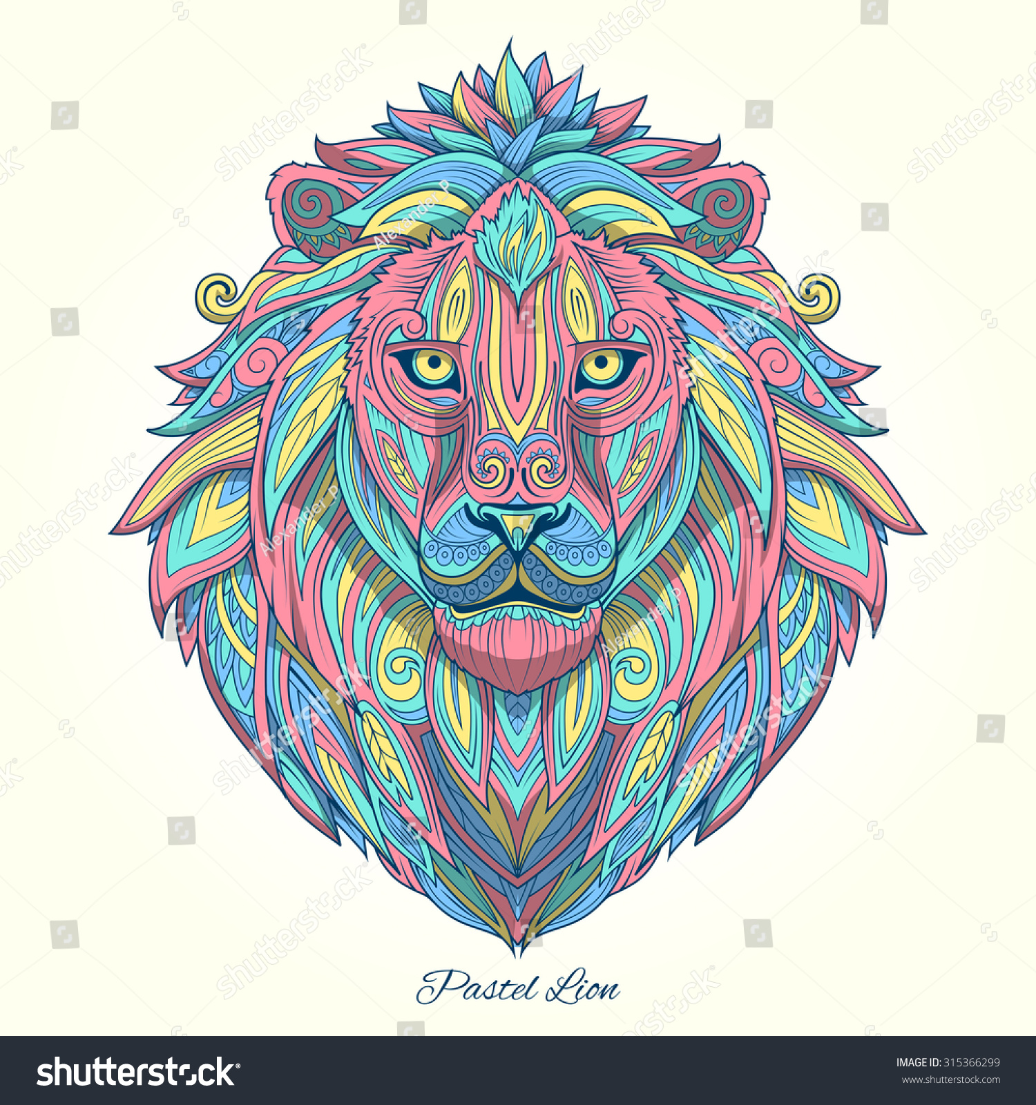 Colourtation anti stress colouring book for adults volume 1 - Color Art Tatto Lion Pastel Color Ornament Ethnic Raster Version Tribal Tattoo Animal Art