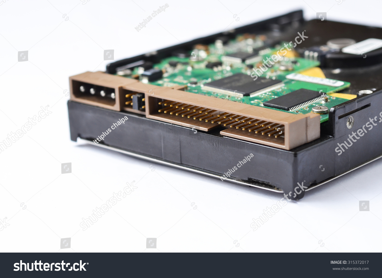 Electronic Circuit Boards Closeup Isolated On A White Background