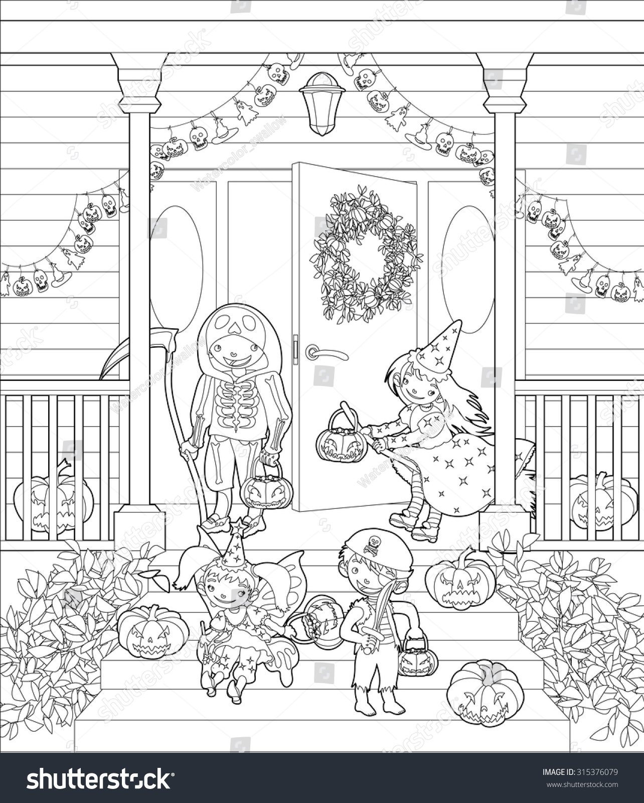 Halloween Coloring Page. Costumed Kids Dressed Up For ...