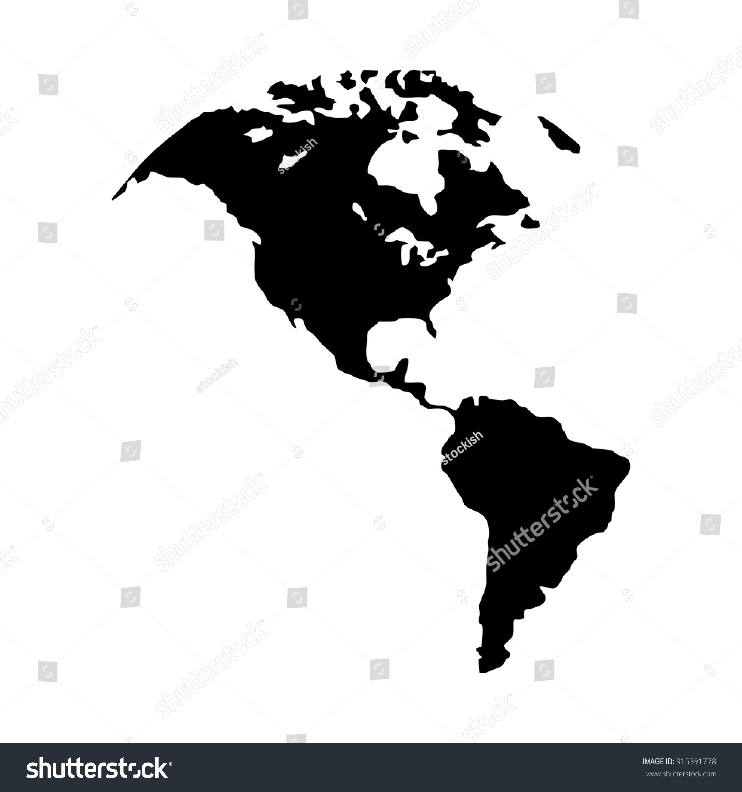 North America Map Canada Us America Stock Vector - Map of canada usa and south america