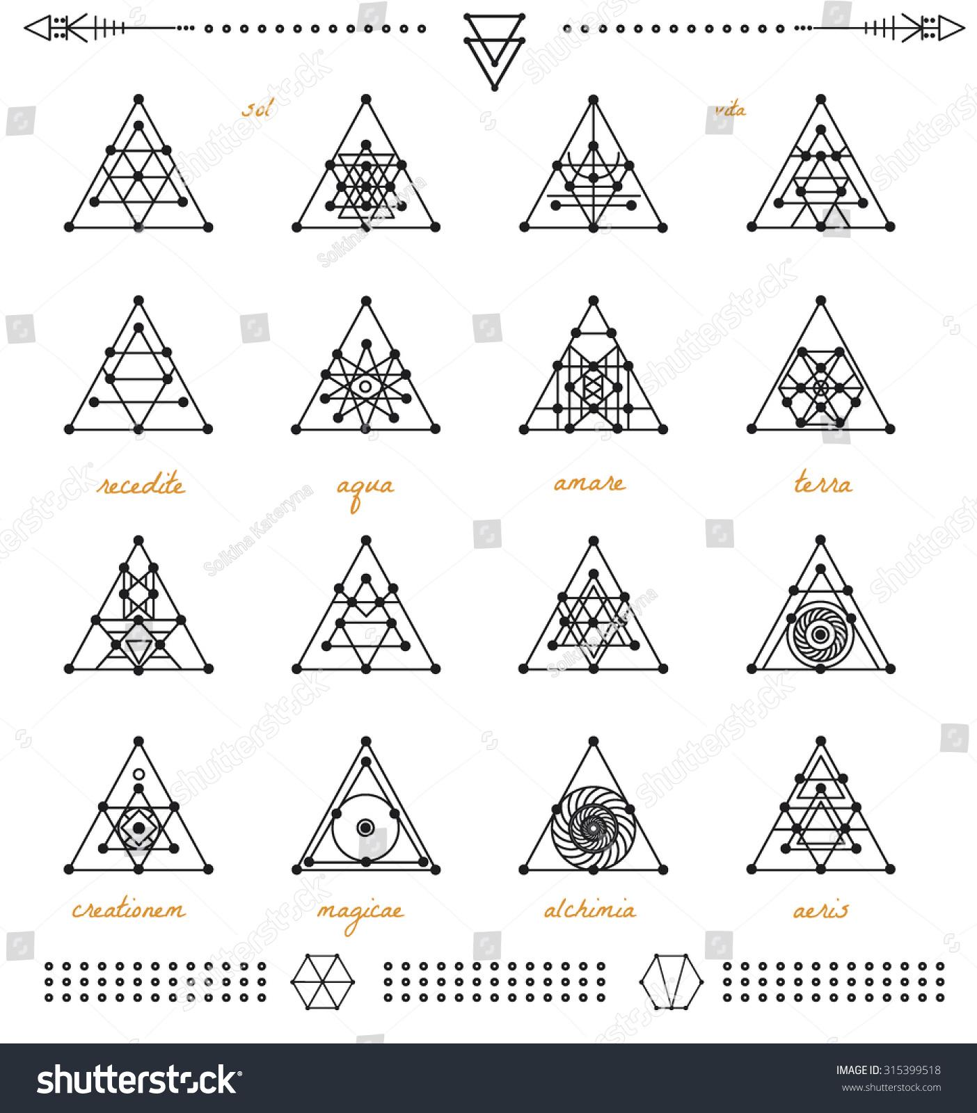 Set Geometric Shapes Geometric Drawing Triangle Stock Vector