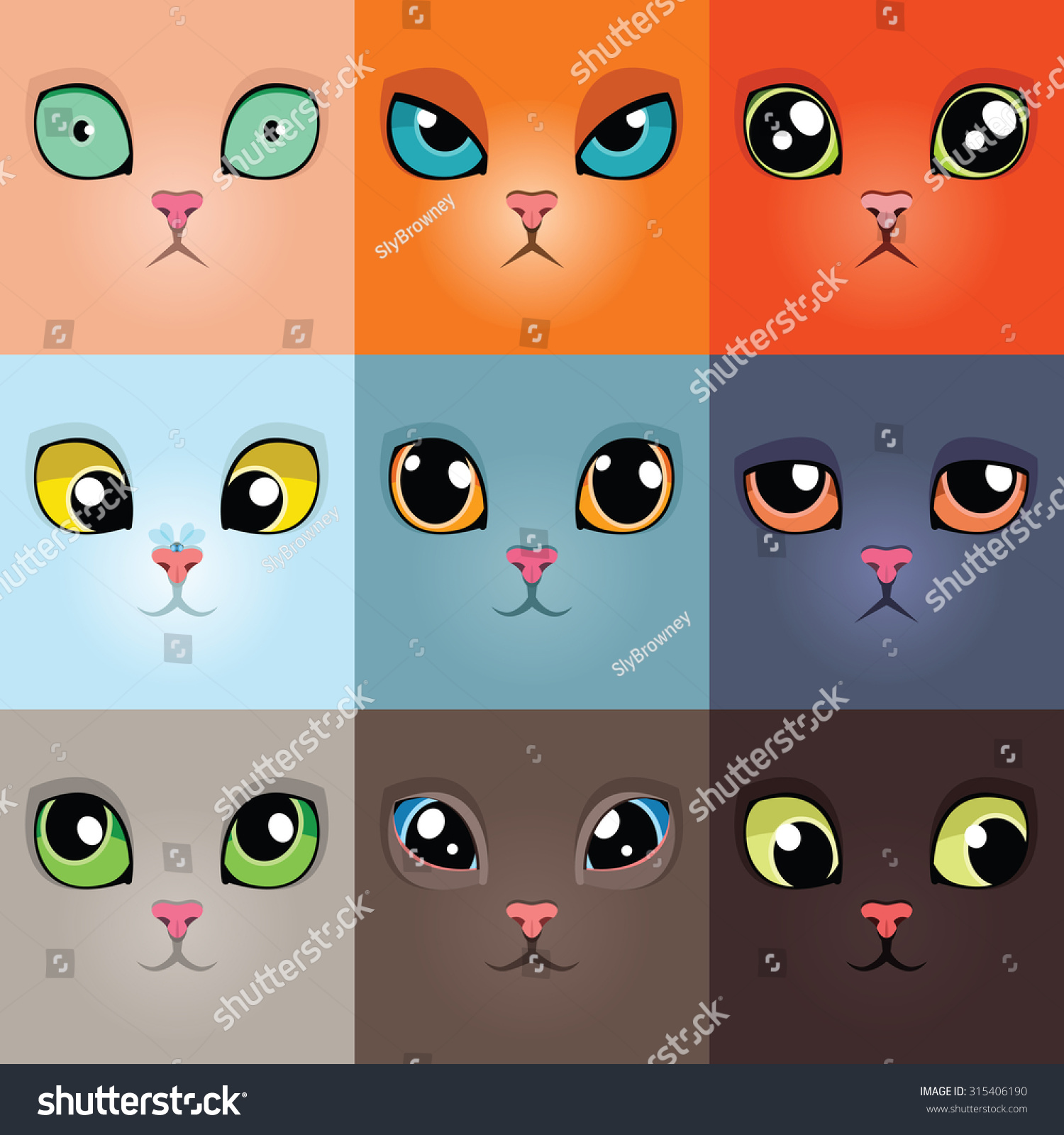 Set Funny Cartoon Cat Faces Vector Stock Vector Royalty Free