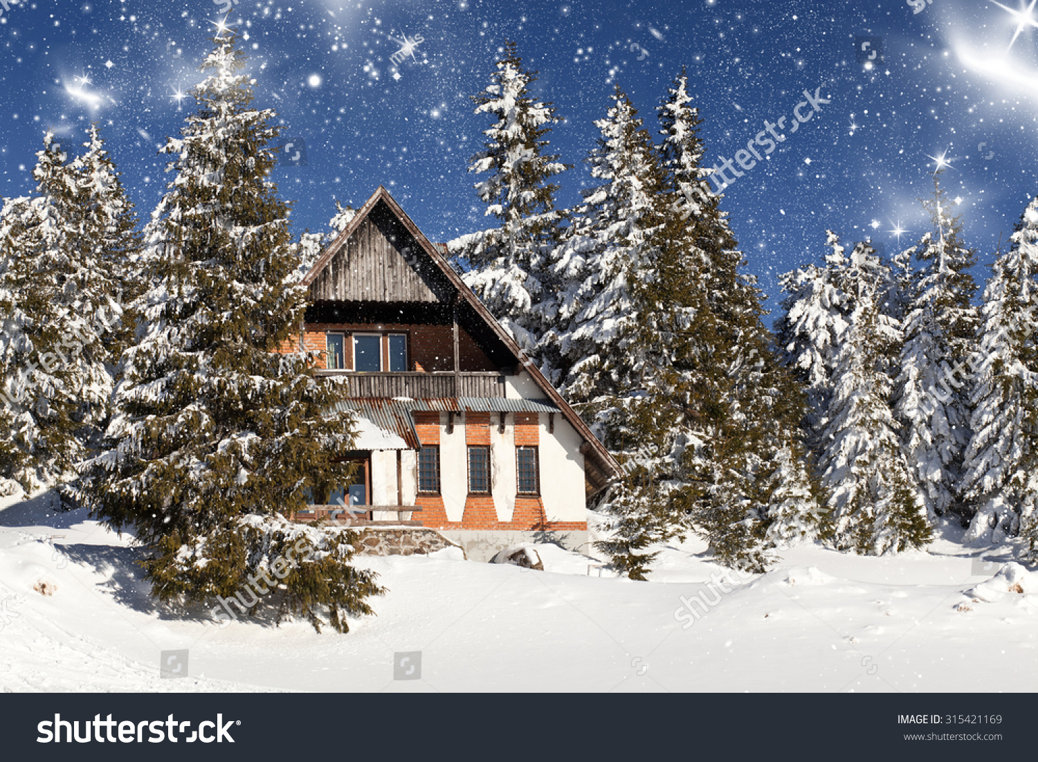 Cottage in the mountains at winter stock photo 315421169 for Cottage in the mountains