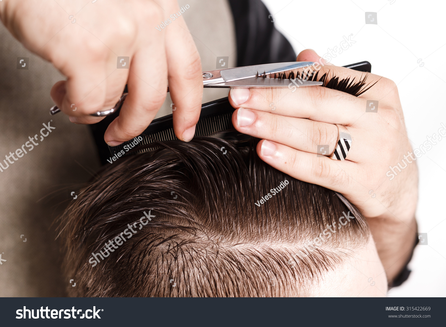 Hairdresser Cuts Hair Scissors Black Comb Stock Photo (Edit Now