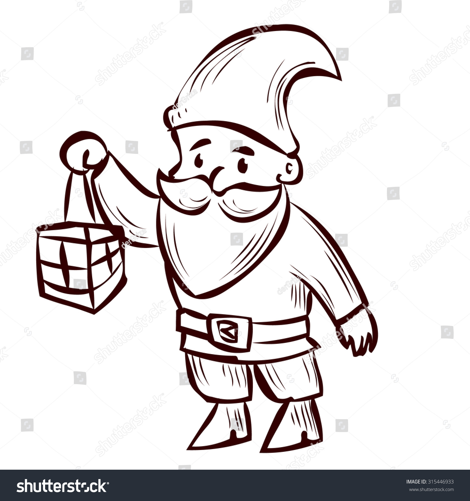 Hand Drawn Garden Gnome With Lantern In Cartoon Vector Illustration